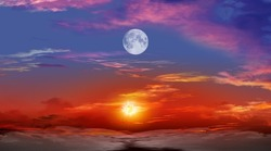 Beautiful sunset with moon  . Dramatic nature background . Moon sky and clouds .