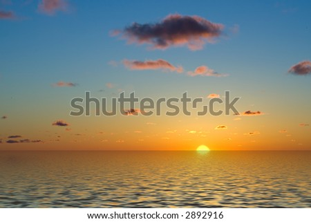 beautiful sunset with scattered clouds