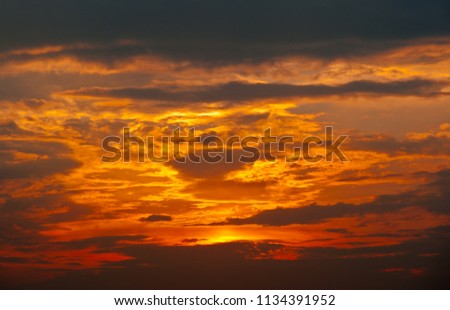 Beautiful sunset, yellow clouds