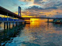 Beautiful sunsets at Manado Sea Harbor, North Sulawesi Indonesia