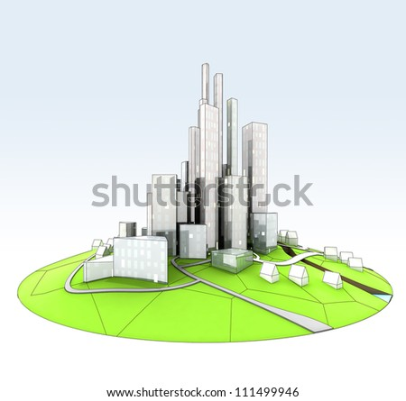 beautiful super modern sustainable city view development unit cityscape hand drawn illustration