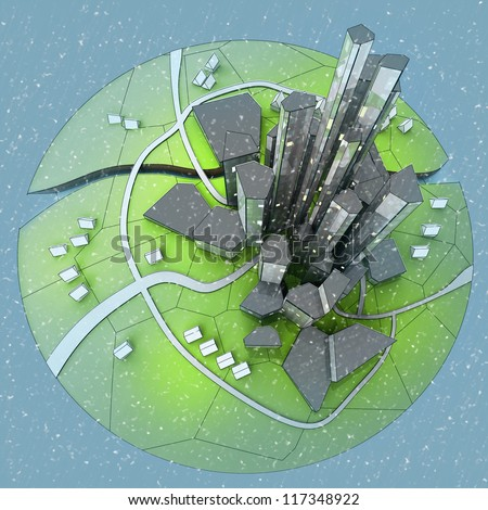 beautiful super modern sustainable city view development unit cityscape with snow falling from top view illustration