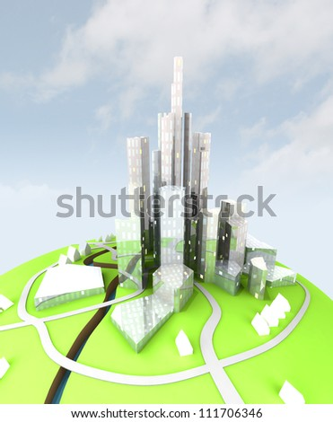 beautiful super modern sustainable city view development unit perspective cityscape view with kdy background illustration