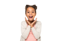 beautiful surprised african american child smiling at camera isolated on white