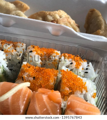Beautiful sushi take out dish, picture is enough to make you drool!