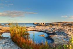 Beautiful swedish landscape at sunset