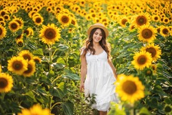 beautiful sweet girl in a white dress walking on a field of sunflowers , smiling a beautiful smile,cheerful girl,style, lifestyle .
