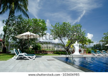 Beautiful swimming pool zone with the blue sky at LAGUNA phuket