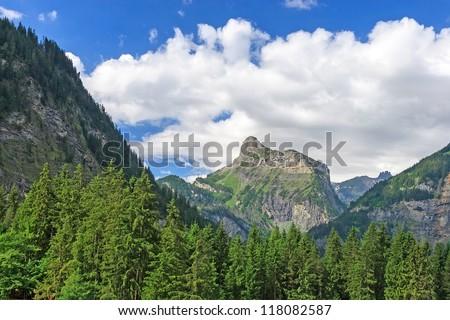 Beautiful Swiss Alps in the cloudy sunny day, Kandersteg, Switzerland