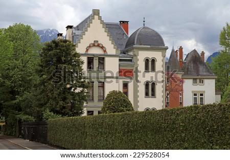 beautiful swiss mansion in the garden, Switzerland