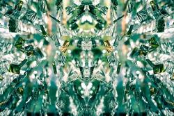 Beautiful symmetrical voluminous glowing optical pattern, kaleidoscope