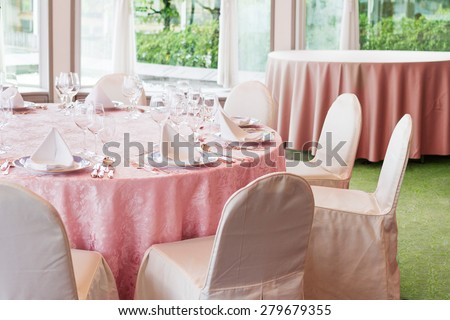 Beautiful table setting. Restaurant. Wedding party idea.