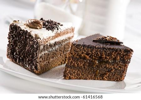 Beautiful tasty chocolate cakes close up shoot - stock photo