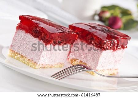Beautiful tasty raspberry cake close up shoot