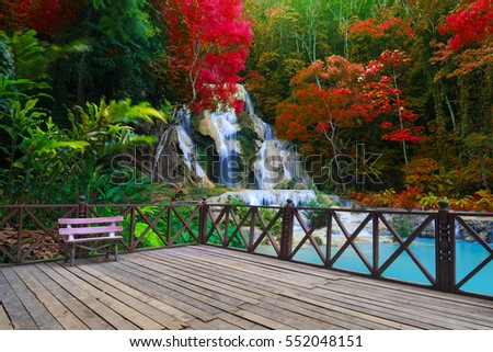 Beautiful Tat Kuang Si Waterfalls at Luang prabang, Laos