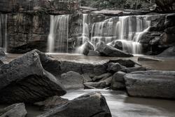 Beautiful Tat Ton Waterfall is a landmark of Tat Ton National Park, Chaiyaphum Province, Thailand. Selective focus.