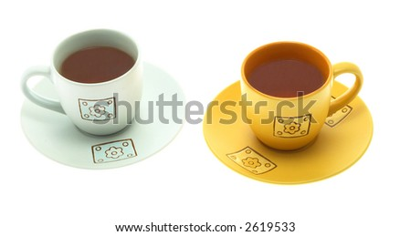 Beautiful tea cups on a white background