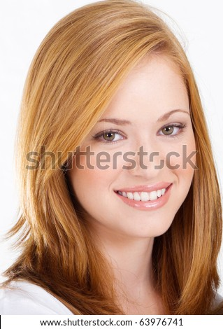 beautiful teen girl, headshot isolated on white