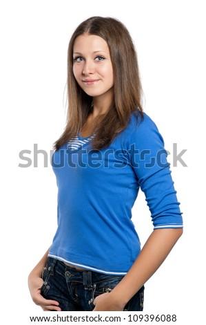 Beautiful teen girl posing on white background