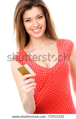 Beautiful teen girl with blank credit card