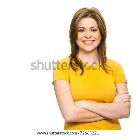 Beautiful teen girl with her hands folded on his chest against white background.