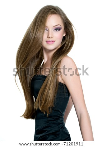 stock photo : Beautiful teen girl with long straight hair, posing on white ...