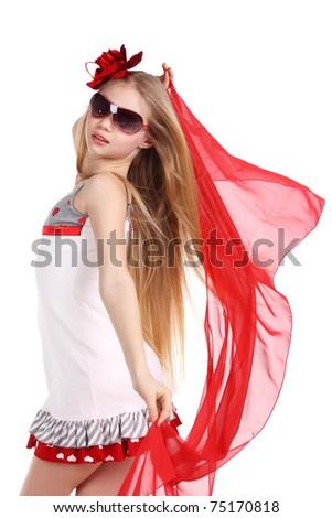 beautiful teenage girl dancing in red in studio