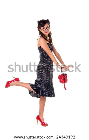Girls  Dress on Girl In 1950 S Rockabilly Fashion Polka Dot Dress  Hair And Red Clutch