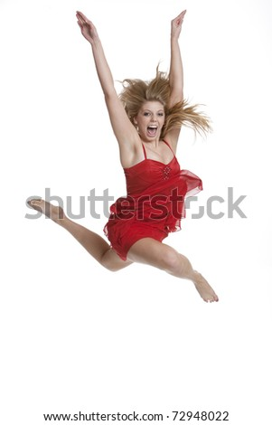 Beautiful teenage girl jumping isolated on white background
