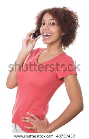 Beautiful teenage girl talking on cell phone