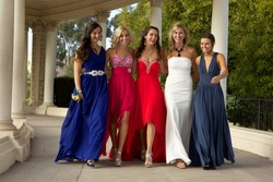 Beautiful Teenage Girls Walking in their Prom Dresses
