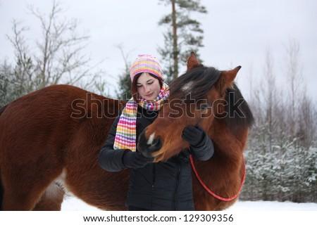Girl Hugging Horse Girl Hugging Brown Horse