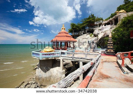 Beautiful temple complex and beach in Khao Tao near Hua Hin, Thailand