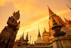 Beautiful Temple of the Emerald Buddha Or Wat Phra Kaew With Sunset Sky Background, Wat Phra Kaew Is Landmarks In Bangkok Thailand.