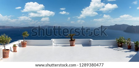 Beautiful terrace in Santorini with breathtaking view #1289380477