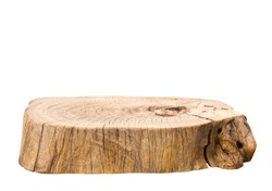Beautiful texture of old tree stump table top on white background.For create product display or design key visual layout.clipping path