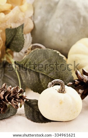 Beautiful textured table decor set with white pumpkins, hydrangeas and pine cones. #334961621