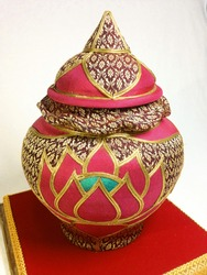beautiful thai decoration, ephemera art cup, red benjarong cup, decorated from thai silk.