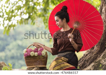 54bde2971 Beautiful Thai girl in Thai traditional costume Images and Stock ...