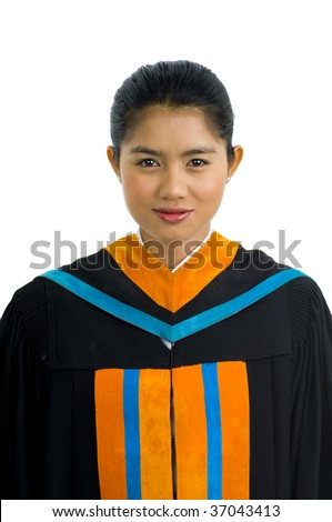 White Graduation Dress on Thai Student At With Graduation Dress  Isolated On White   Stock Photo