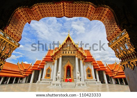 Beautiful Thai Temple Wat Benjamaborphit, temple in Bangkok, Tha
