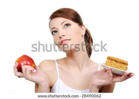 beautiful thoughtful woman with food in her hands