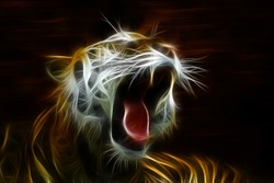 Beautiful tiger open mouth gorgeous beautiful art