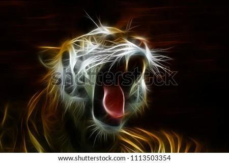 Beautiful tiger open mouth gorgeous beautiful art #1113503354