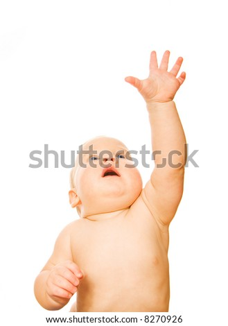 Beautiful toddler with outstretched hand isolated on white background