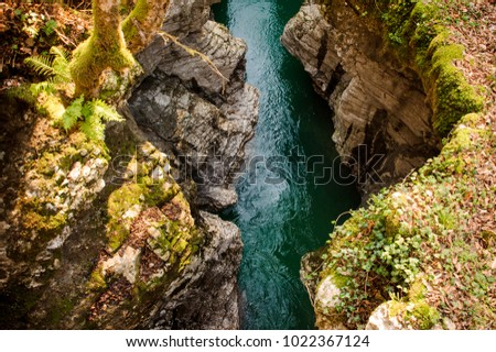 Beautiful top view of a blue mountain river flowing between two high rocks with green plants in Georgia. Martvili canyon. Okatse canyon #1022367124