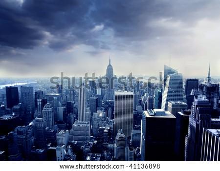 beautiful top view of manhattan in blue