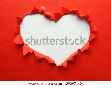 Beautiful torn paper in heart shape symbol