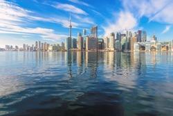 Beautiful Toronto skyline with CN Tower over lake. Canada.