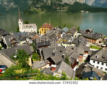 Beautiful town in mountains - stock photo